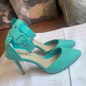 Breckelles Tiffany Turquoise Vegan Suede Cuff Heel